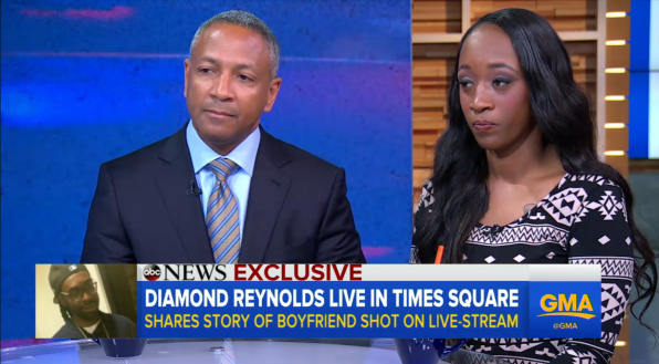 Larry Rogers, Jr. and Diamond Reynolds appear on Good Morning America to speak about the death of Reynolds' fiancee Philando Castile.